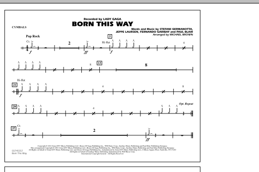 Michael Brown Born This Way - Cymbals sheet music notes and chords