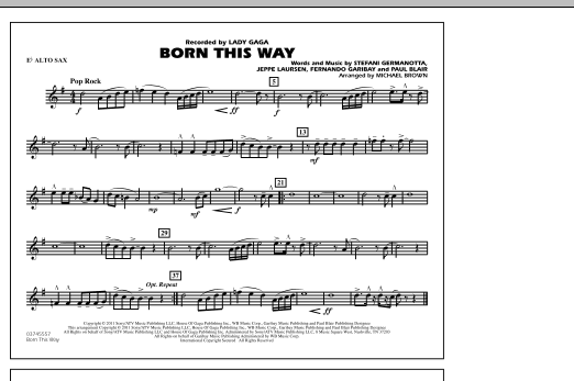 Michael Brown Born This Way - Eb Alto Sax sheet music notes and chords