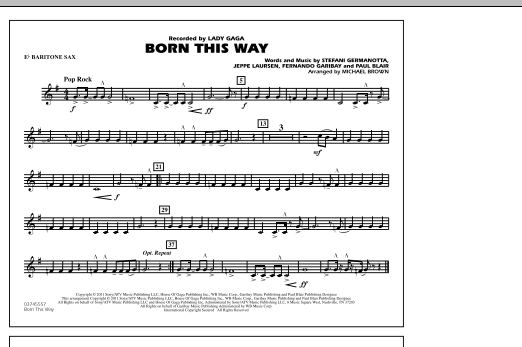 Michael Brown Born This Way - Eb Baritone Sax sheet music notes and chords. Download Printable PDF.