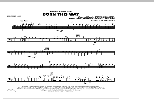 Michael Brown Born This Way - Electric Bass sheet music notes and chords. Download Printable PDF.