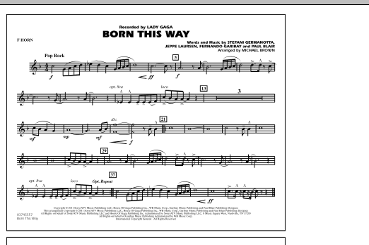Michael Brown Born This Way - F Horn sheet music notes and chords