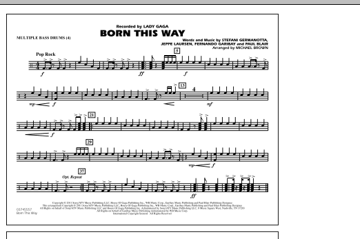 Michael Brown Born This Way - Multiple Bass Drums sheet music notes and chords