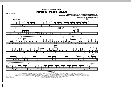 Michael Brown Born This Way - Quad Toms sheet music notes and chords. Download Printable PDF.
