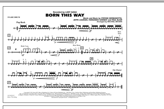 Michael Brown Born This Way - Snare Drum sheet music notes and chords