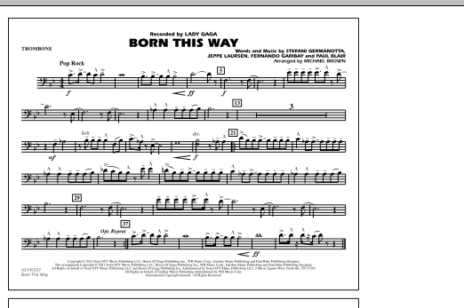 Michael Brown Born This Way - Trombone sheet music notes and chords