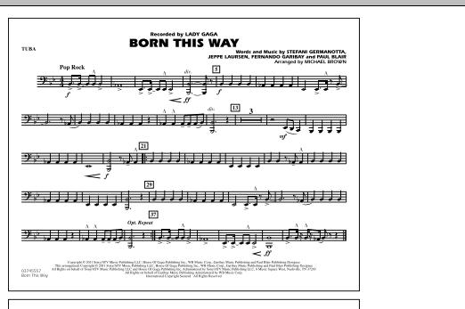 Michael Brown Born This Way - Tuba sheet music notes and chords. Download Printable PDF.
