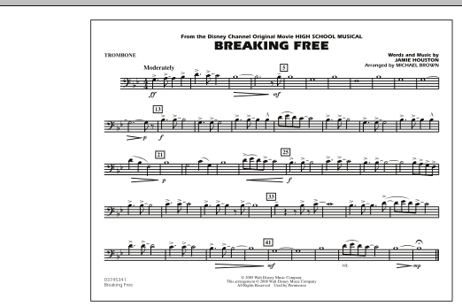 Michael Brown Breaking Free (from High School Musical) - Trombone sheet music notes and chords. Download Printable PDF.