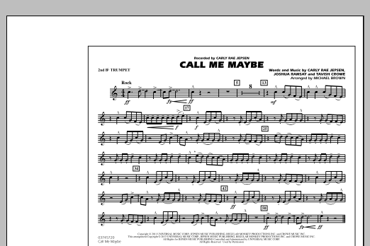 Michael Brown Call Me Maybe - 2nd Bb Trumpet sheet music notes and chords. Download Printable PDF.