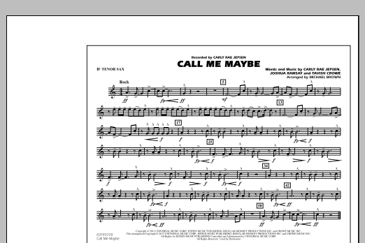 Michael Brown Call Me Maybe - Bb Tenor Sax sheet music notes and chords. Download Printable PDF.