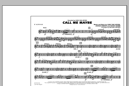 Michael Brown Call Me Maybe - Eb Alto Sax sheet music notes and chords. Download Printable PDF.