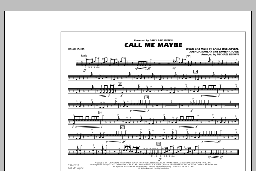Michael Brown Call Me Maybe - Quad Toms sheet music notes and chords. Download Printable PDF.