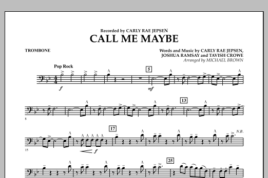 Michael Brown Call Me Maybe - Trombone sheet music notes and chords. Download Printable PDF.