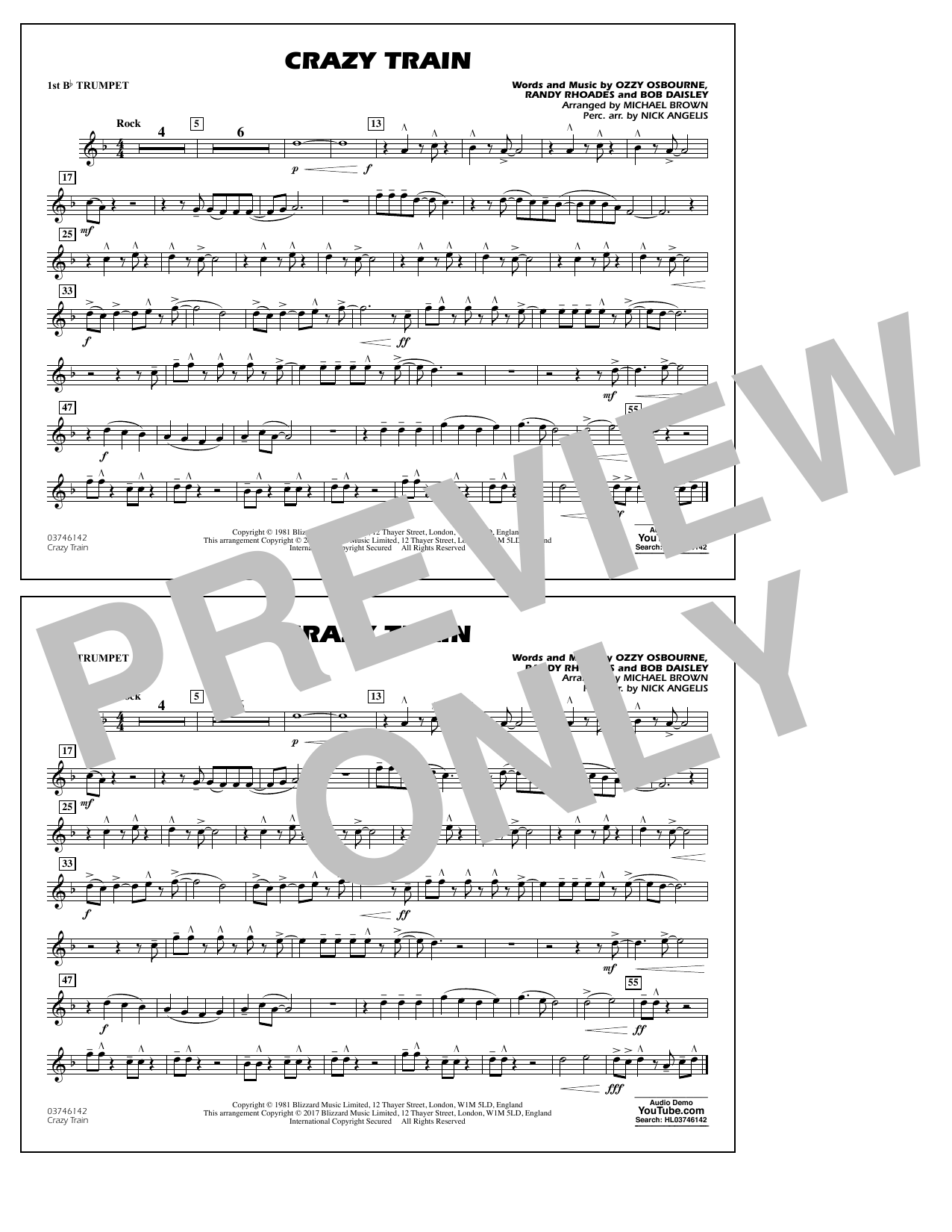 Michael Brown Crazy Train - 1st Bb Trumpet sheet music notes and chords. Download Printable PDF.