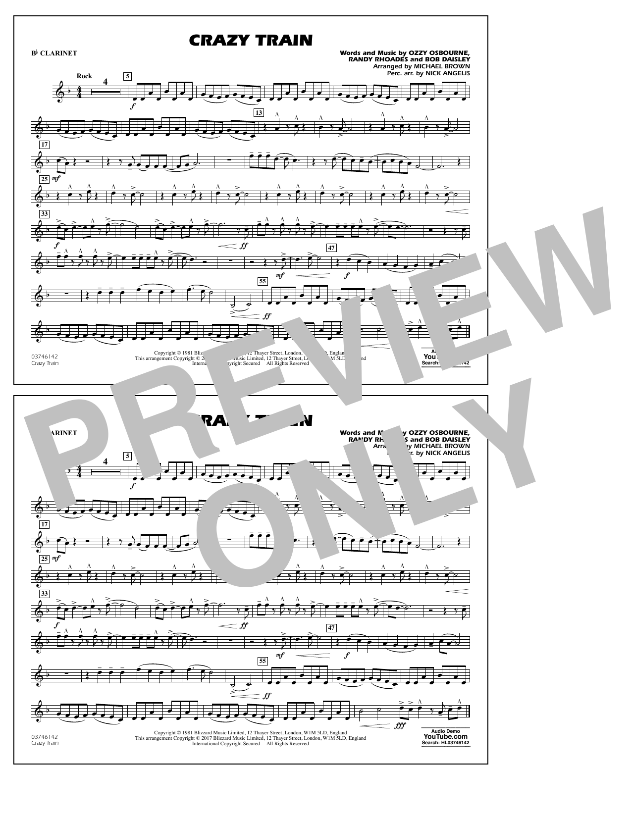 Michael Brown Crazy Train - Bb Clarinet sheet music notes and chords. Download Printable PDF.