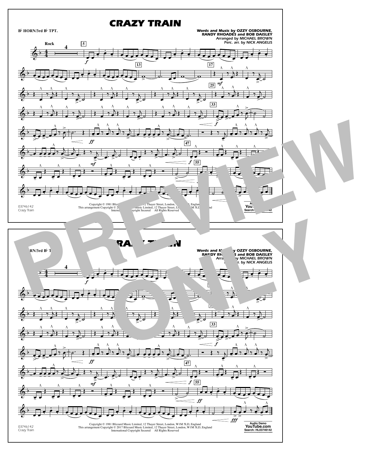 Michael Brown Crazy Train - Bb Horn/3rd Bb Tpt sheet music notes and chords. Download Printable PDF.