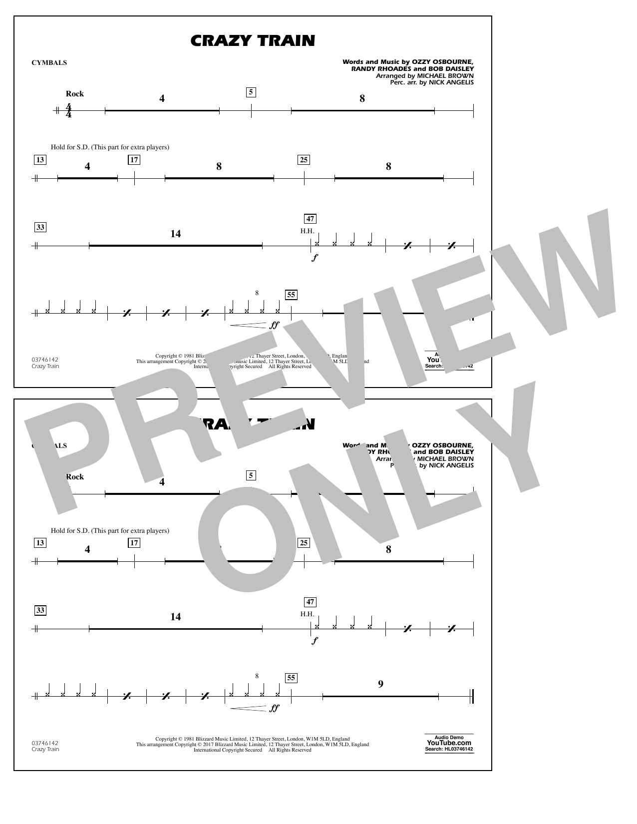 Michael Brown Crazy Train - Cymbals sheet music notes and chords. Download Printable PDF.