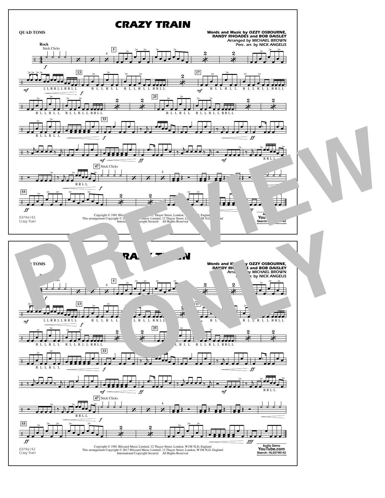Michael Brown Crazy Train - Quad Toms sheet music notes and chords. Download Printable PDF.