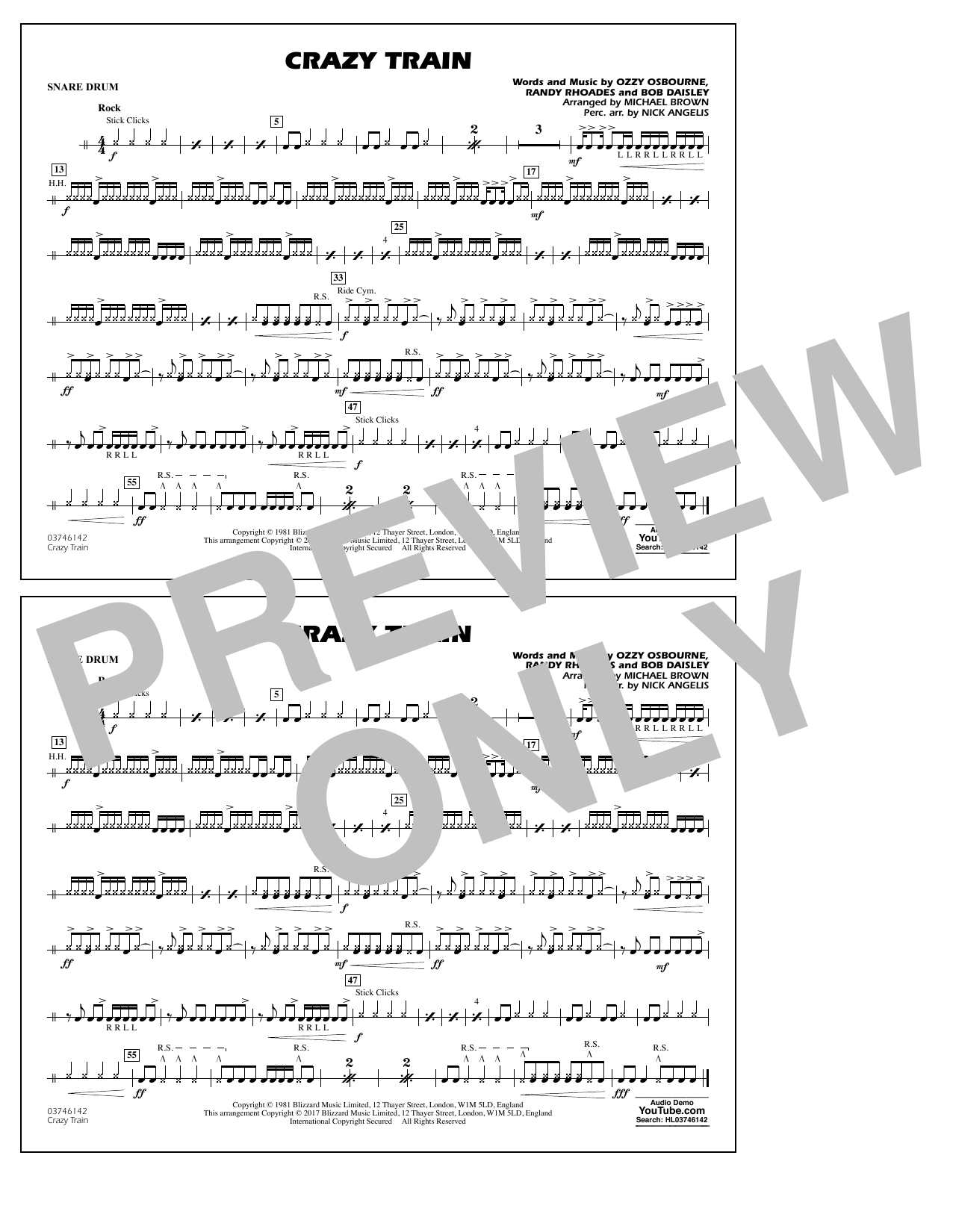 Michael Brown Crazy Train - Snare Drum sheet music notes and chords. Download Printable PDF.