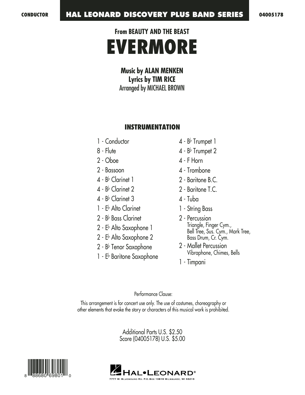Michael Brown Evermore (from Beauty and the Beast) - Conductor Score (Full Score) sheet music notes and chords. Download Printable PDF.