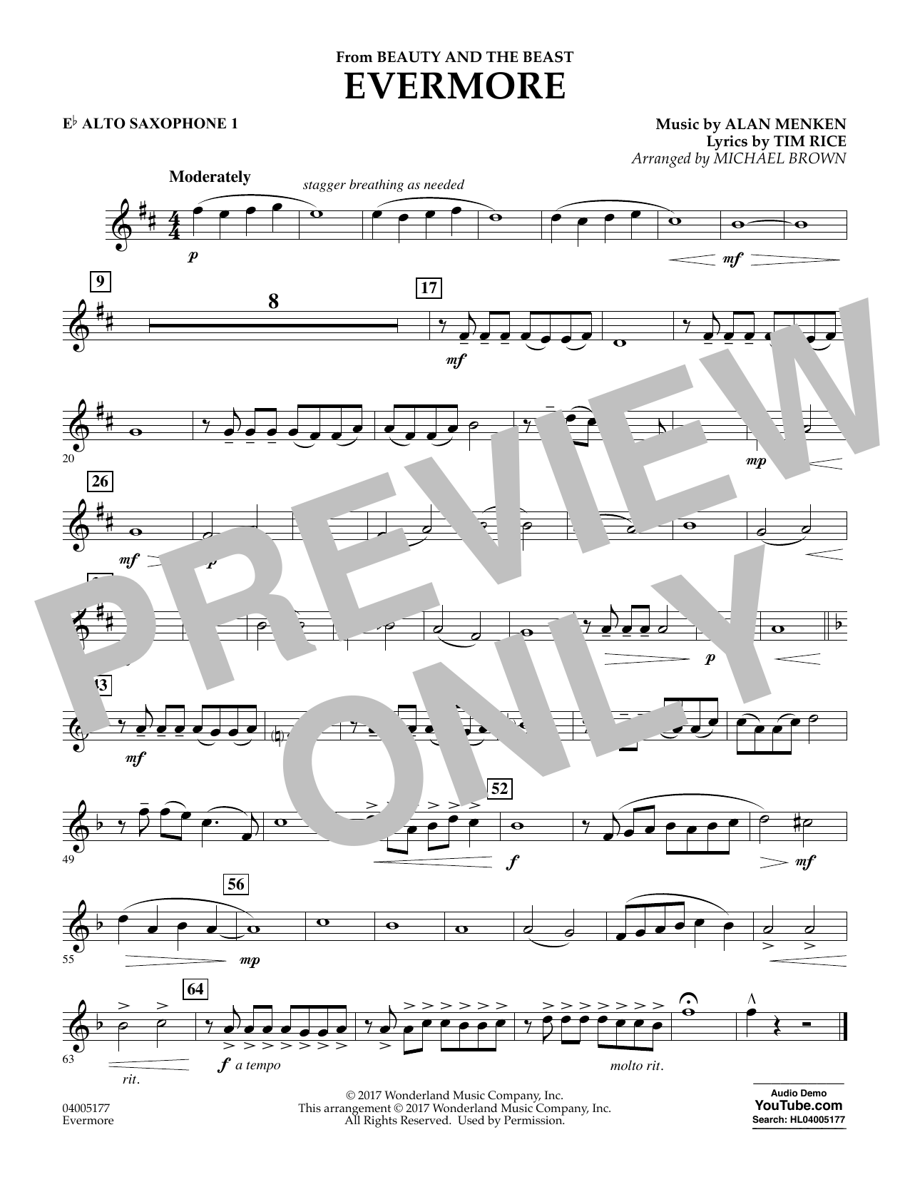 Michael Brown Evermore (from Beauty and the Beast) - Eb Alto Saxophone 1 sheet music notes and chords. Download Printable PDF.