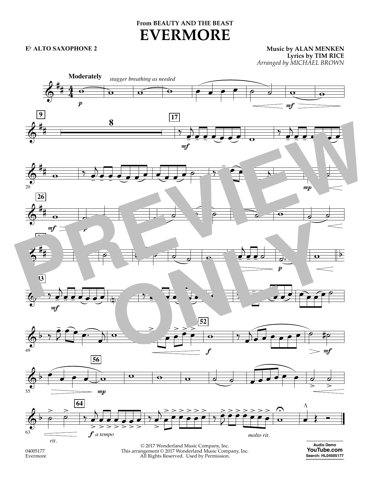 Michael Brown Evermore (from Beauty and the Beast) - Eb Alto Saxophone 2 sheet music notes and chords. Download Printable PDF.