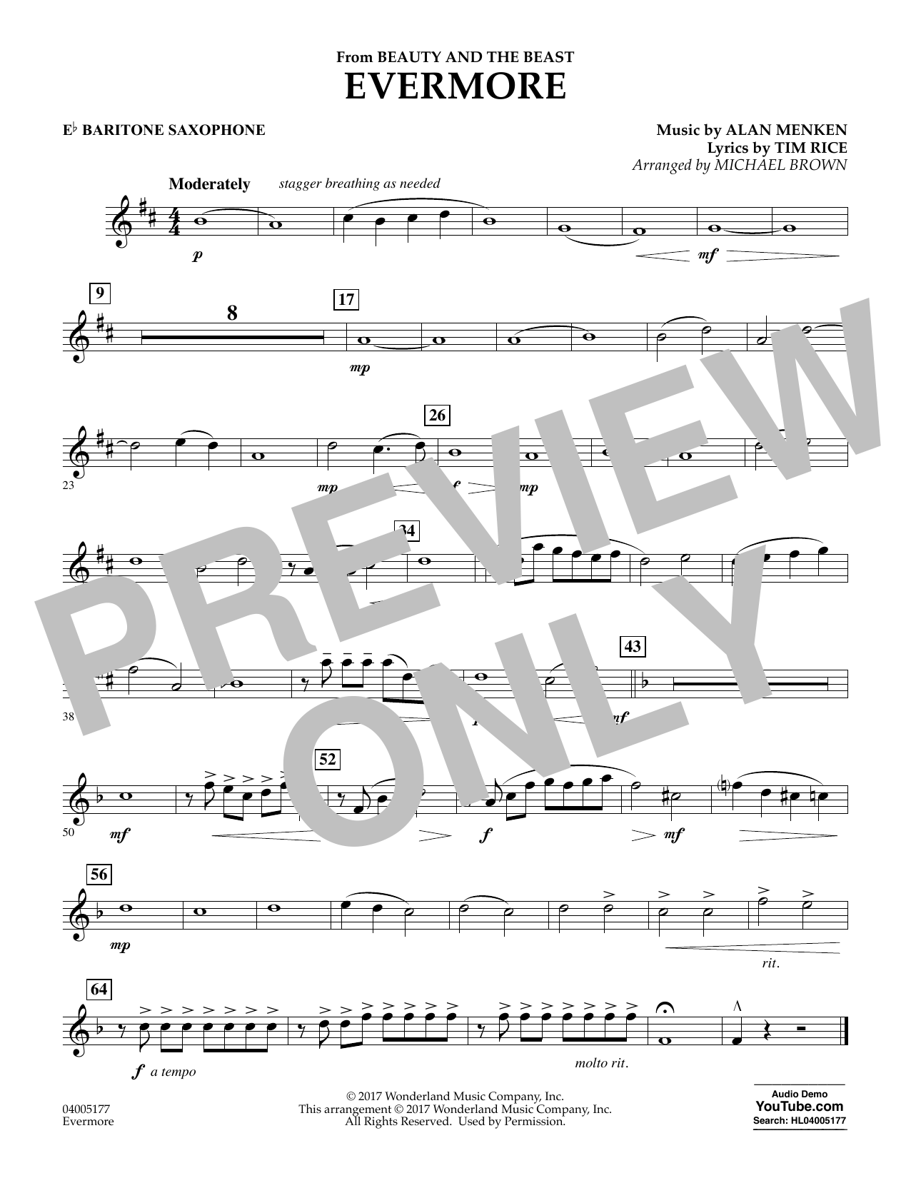 Michael Brown Evermore (from Beauty and the Beast) - Eb Baritone Saxophone sheet music notes and chords. Download Printable PDF.