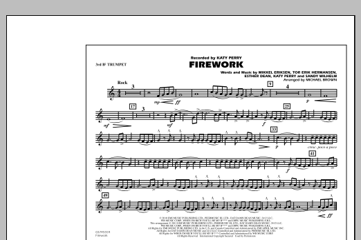 Michael Brown Firework - 3rd Bb Trumpet sheet music notes and chords