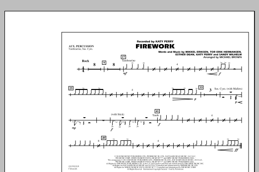 Michael Brown Firework - Aux Percussion sheet music notes and chords