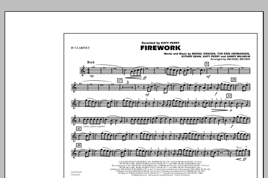 Michael Brown Firework - Bb Clarinet sheet music notes and chords