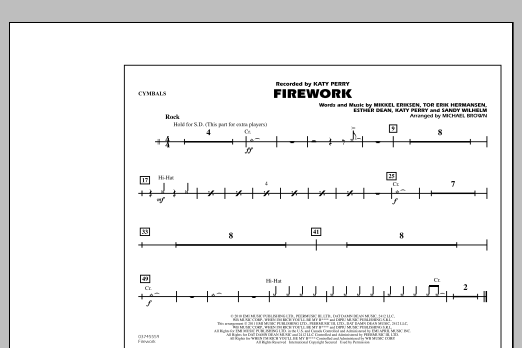 Michael Brown Firework - Cymbals sheet music notes and chords