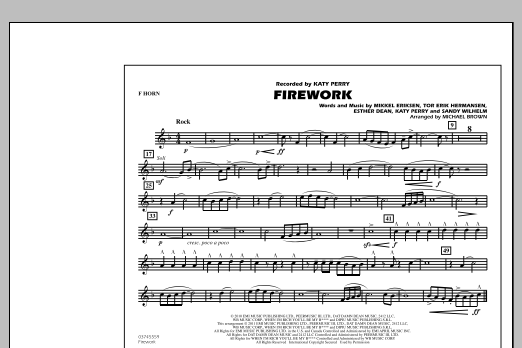 Michael Brown Firework - F Horn sheet music notes and chords