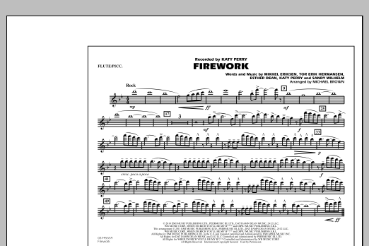 Michael Brown Firework - Flute/Piccolo sheet music notes and chords