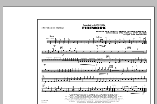Michael Brown Firework - Multiple Bass Drums sheet music notes and chords