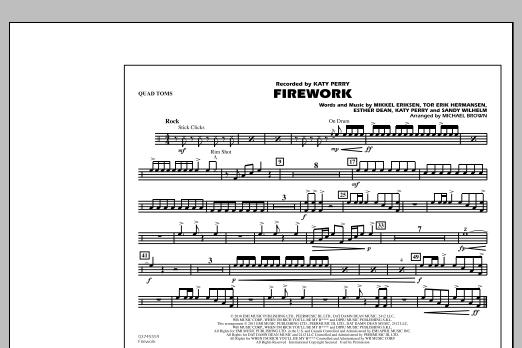 Michael Brown Firework - Quad Toms sheet music notes and chords