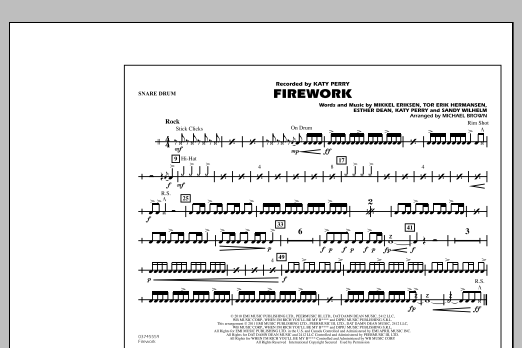Michael Brown Firework - Snare Drum sheet music notes and chords