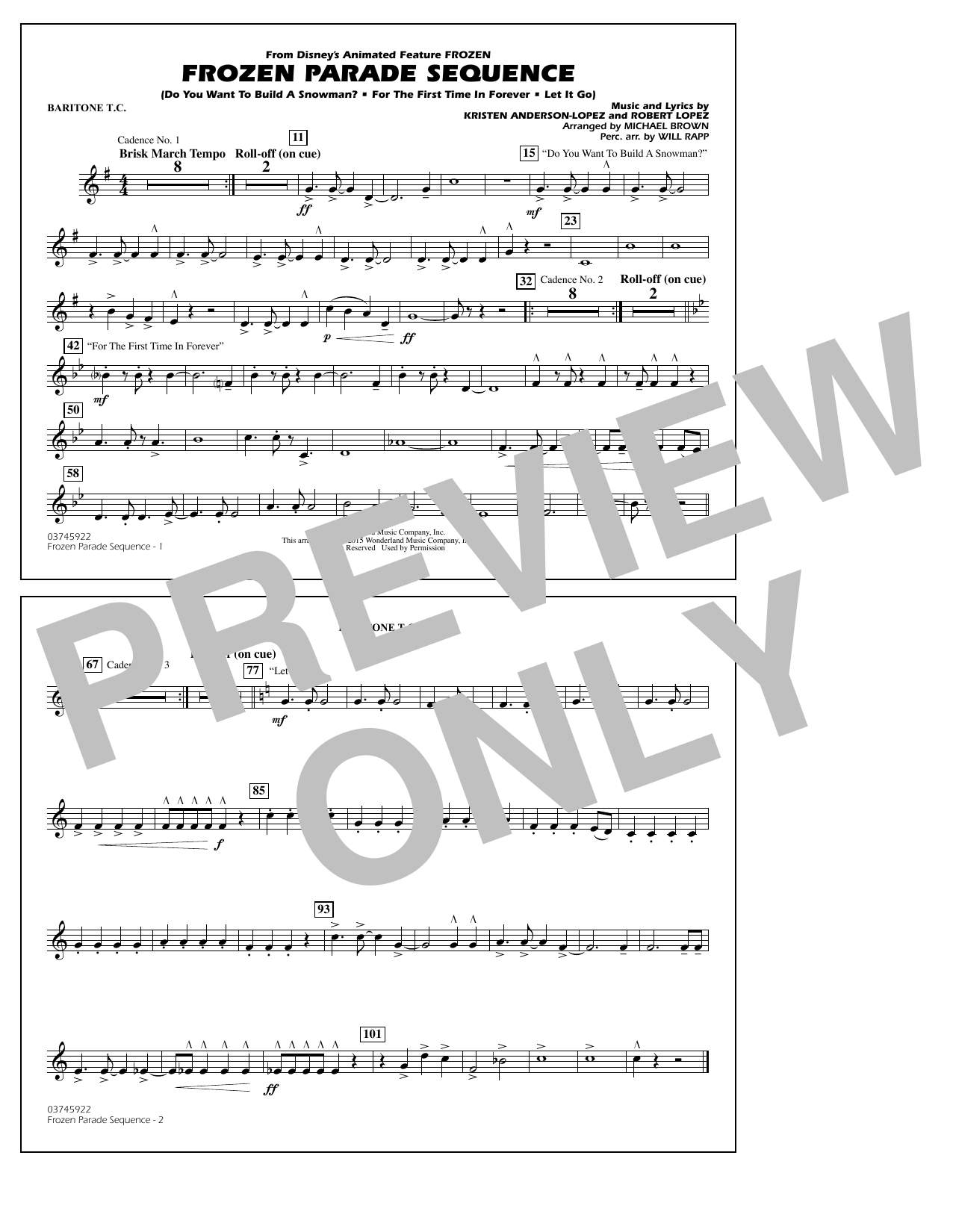 Michael Brown Frozen Parade Sequence - Baritone T.C. sheet music notes and chords. Download Printable PDF.