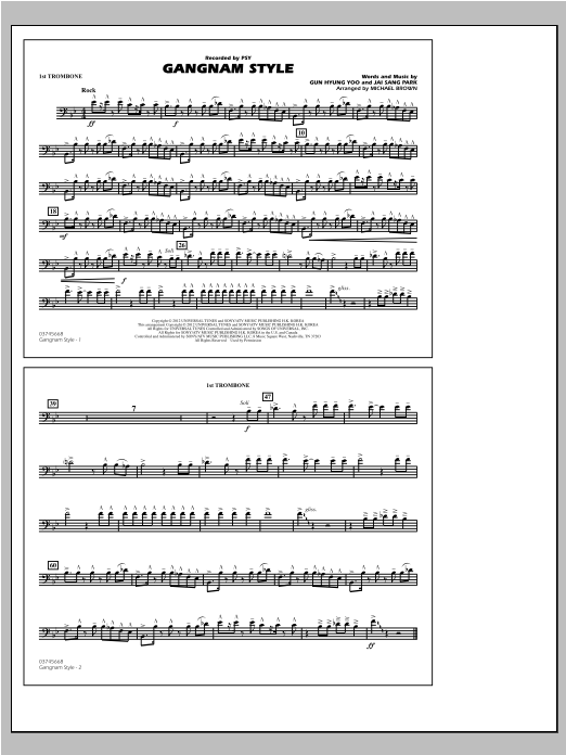 Michael Brown Gangnam Style - 1st Trombone sheet music notes and chords. Download Printable PDF.