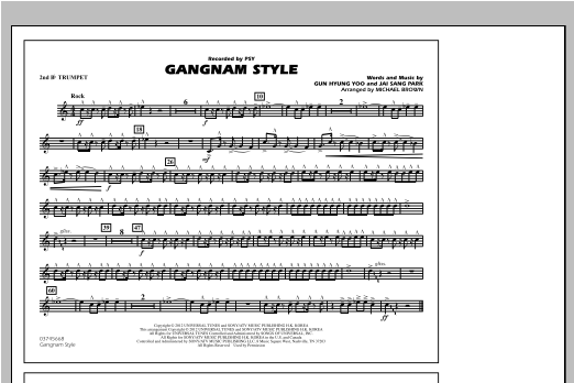 Michael Brown Gangnam Style - 2nd Bb Trumpet sheet music notes and chords. Download Printable PDF.