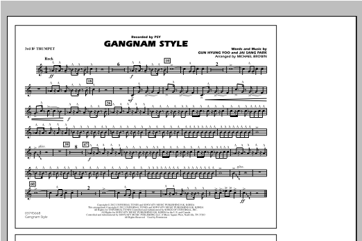 Michael Brown Gangnam Style - 3rd Bb Trumpet sheet music notes and chords. Download Printable PDF.