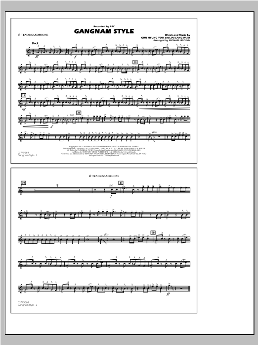 Michael Brown Gangnam Style - Bb Tenor Sax sheet music notes and chords. Download Printable PDF.