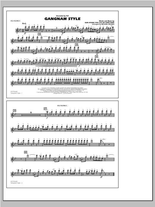 Michael Brown Gangnam Style - Flute/Piccolo sheet music notes and chords. Download Printable PDF.