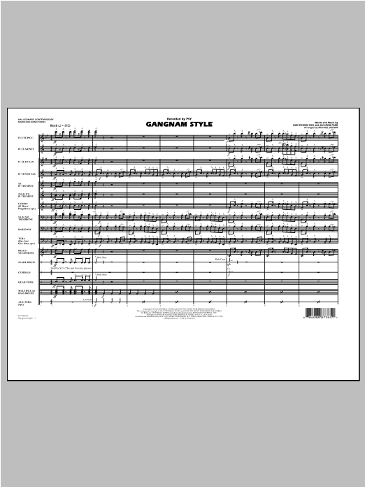 Michael Brown Gangnam Style - Full Score sheet music notes and chords. Download Printable PDF.