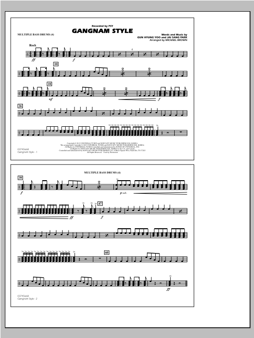 Michael Brown Gangnam Style - Multiple Bass Drums sheet music notes and chords. Download Printable PDF.