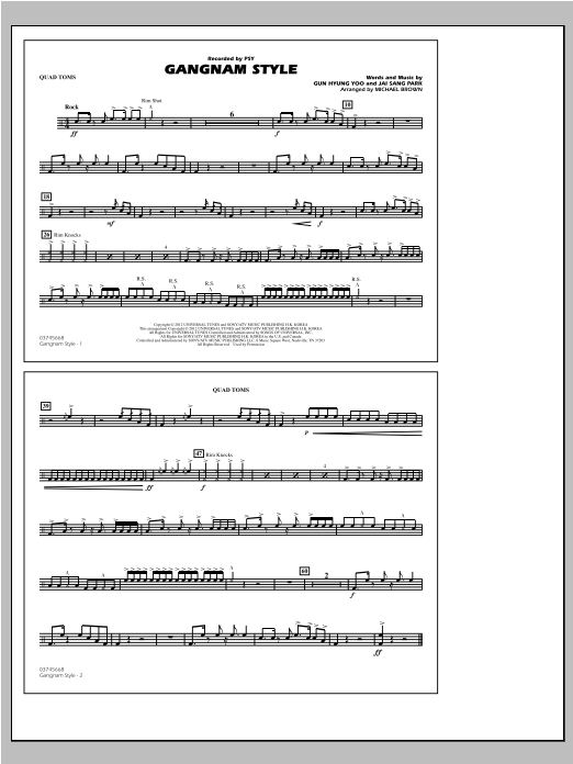 Michael Brown Gangnam Style - Quad Toms sheet music notes and chords. Download Printable PDF.