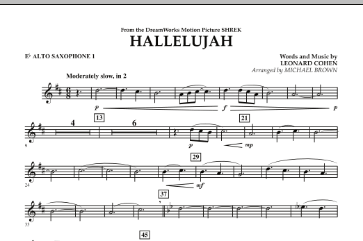 Michael Brown Hallelujah - Eb Alto Saxophone 1 sheet music notes and chords. Download Printable PDF.