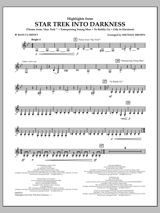 Michael Brown Highlights from Star Trek Into Darkness - Bb Bass Clarinet sheet music notes and chords. Download Printable PDF.