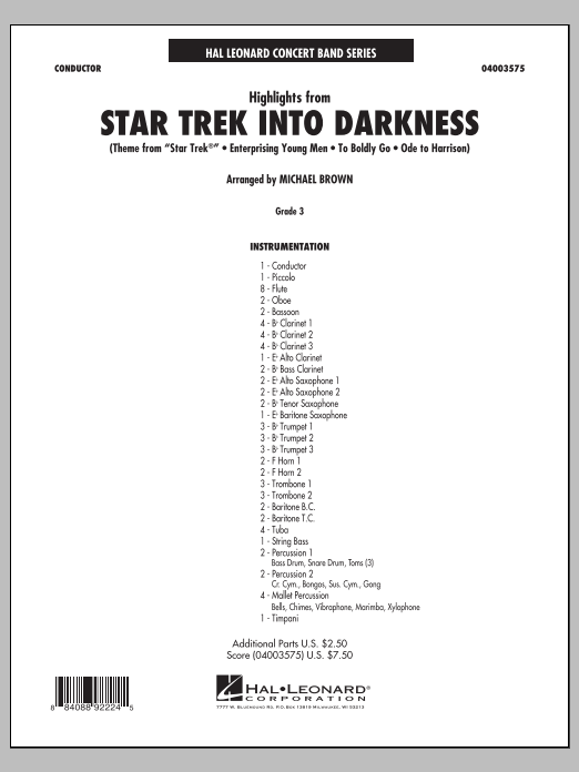 Michael Brown Highlights from Star Trek Into Darkness - Conductor Score (Full Score) sheet music notes and chords. Download Printable PDF.