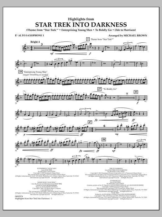 Michael Brown Highlights from Star Trek Into Darkness - Eb Alto Saxophone 1 sheet music notes and chords. Download Printable PDF.