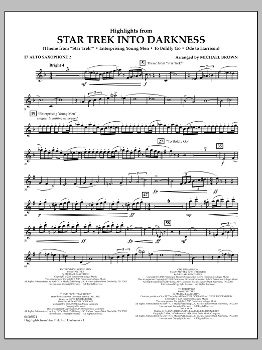 Michael Brown Highlights from Star Trek Into Darkness - Eb Alto Saxophone 2 sheet music notes and chords. Download Printable PDF.