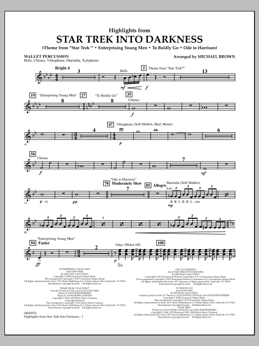 Michael Brown Highlights from Star Trek Into Darkness - Mallet Percussion sheet music notes and chords. Download Printable PDF.
